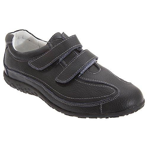 Boulevard - Chaussures extra larges en cuir et à sangles scratch - Femme Noir