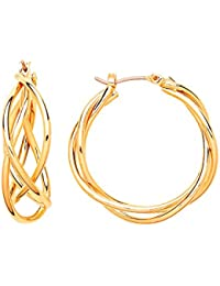 Front Row Gold Colour Chain Link Hoop Earrings
