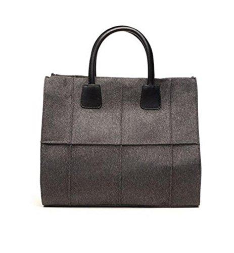 Mode Quadrat Metallschnappverschlüsse Große Taschen Parteibeutel Einfach Elegant Handtaschen Freizeit Einkaufen Schultertasche Ms. Grey