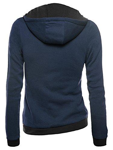 WAJAT Damen Hoodies Stehkragen Kapuzenpullover Sweatshirt Schräg Zipper Dunkelblau