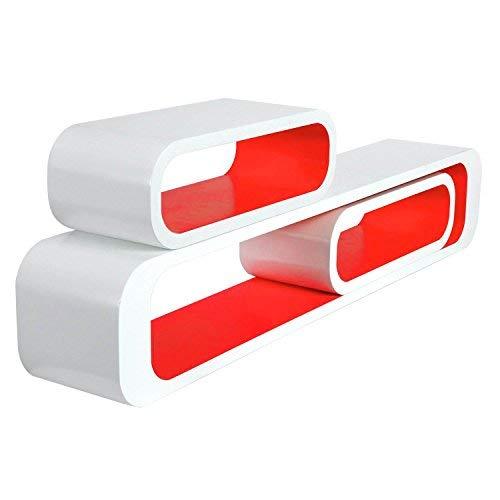 WOLTU RG9230nrt Wandregal Lounge 3er Set Bücherregal Hängeregal, weiß-rot