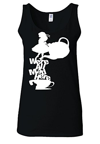 Disney Alice in Wonderland Tea All Mad Here White Women Vest Tank Top *Noir