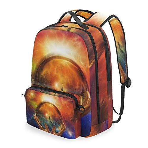 DINANY Hände halten Glaskugel mit Blick auf den Menschen Abnehmbare Rucksack Schule Computer Tasche reiserucksack zu fuß tragbare ranzen Camping Rucksack für Junge mädchen