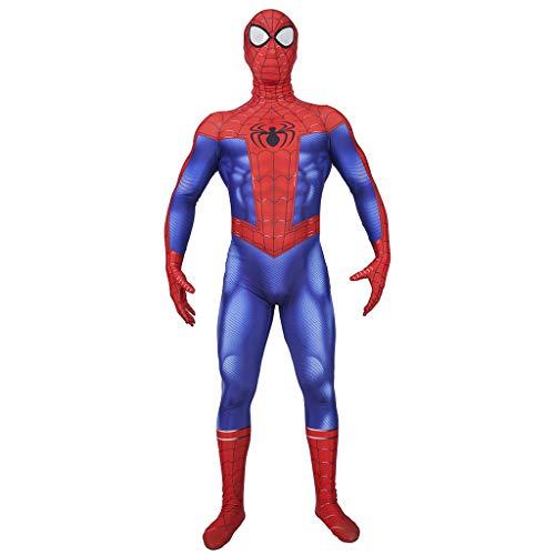 Spider Blau Mann Kostüm - Ghuajie5hao Herren Superheld Spiderman Kostüme Unisex Erwachsene Elastische Strumpfhose Spider-Men Overall Body Halloween Cosplay Kostüme Frauen 3D gedruckt Trikot,Blau,XXXL
