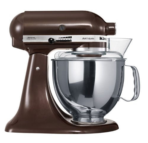 KitchenAid KSM150PSEES Artisan - Batidora amasadora, 10 velocidades, diseño de cabezal inclinable, 300 W, color marrón