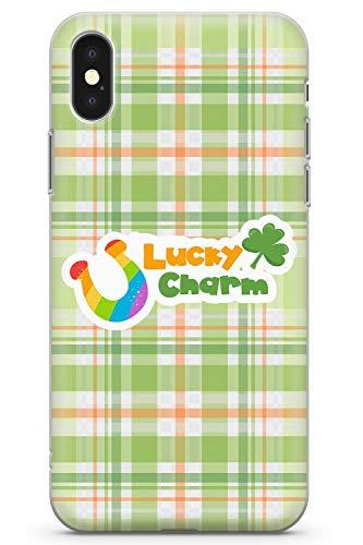 Case Warehouse iPhone XR Lucky Charm Irish Plaid Zitat Schutz Gummi Handyhülle TPU Bumper Irland St Patrick Day Klee Tartan Kleeblatt