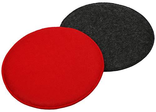 Com-four® 2x set di cuscini di seduta imbottiti, cuscini per sedie e panche - fodera per cuscino di seduta rotonda per sala da pranzo, giardino, balcone - Ø 35 cm (02 pezzi - antracite/rosso)