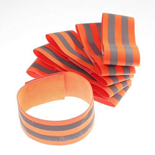 [6 Pezzi] Fasce riflessione di sicurezza, elastico, 35cm x 5 cm - Bande catarifrangente di alta visibilità, altezza regolabile, per Sport all'aria aperta, doppio riflettore, arancia TKB5062 orange