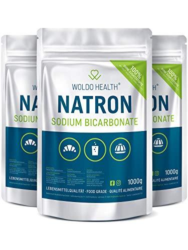 Backpulver Natron-Pulver Baking-Soda in Lebensmittelqualität - Natriumbicarbonat Backsoda wiederverschließbarer Beutel Natrium-Hydrogencarbonat 3x 1000g