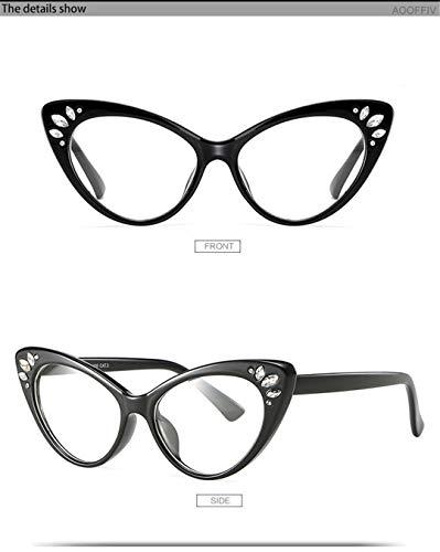 DAIYSNAFDN Männer und Frauen Cat Eye Sonnenbrillen Retro Strass Sonnenbrillen Sexy Sonnenbrillen Transparent