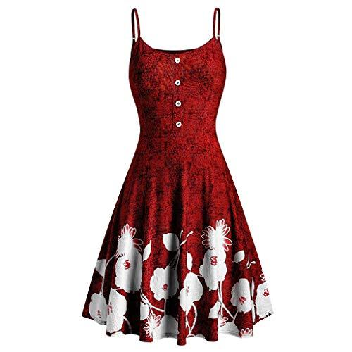 GOKOMO Art- und Weisefrauen Druckten O-Ansatz ärmelloses beiläufiges Kleid-Party-Kleid(rot,XX-Large)