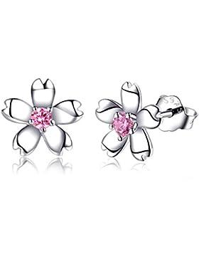 Ohrstecker Damen Silber Blumen Ohrringe mit Kristall für Damen und Mädchen, Schmuck als Geschenk für Valentinstag...