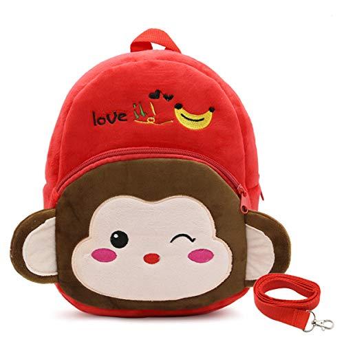 LUXIAO 3D-Cartoon Tierstil Anti-Verloren Plüsch Kinderrucksack Netter Kindergarten Schultasche (Kleiner Affe)