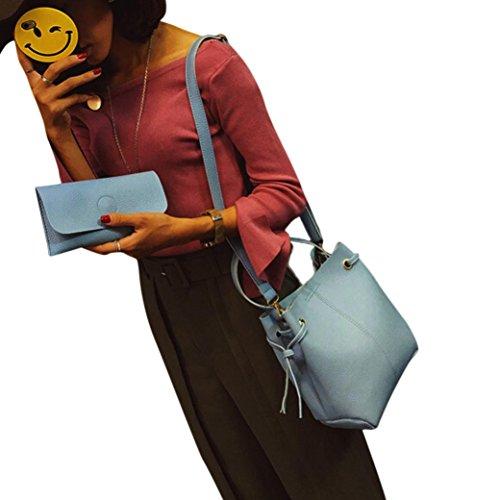 ZARU Frauen-lederner Handtaschen-Kurier-Schulter-Beutel + Handtasche Blau