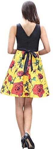 SMITHROAD Damen Vintage Sommerkleid Patchwork Floral Mini Trägerkleid V-Back Freizeitkleid Partykleid 17 Farben Gr.34 bis 44 O565 Gelb