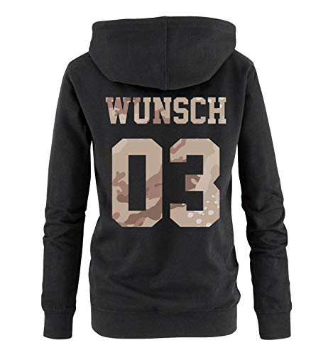 Comedy Shirts - Wunsch - Damen Hoodie - Schwarz/Camouflage V - Gr. XL A/v Tv