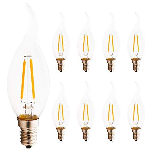 8er Pack E14 LED Birnen Kerzenform Ersetzt 15W Glühbirne, 2W C35 180LM Warmweiß 2700K, LED Kerzenlampe Kronleuchter Kerzenleuchten -