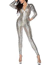 4c56cdd92ec Gyan Womens Leather Jumpsuit Metallic Skinny Catsuit Sexy Club wear  Stripper Stretch Bodysuit