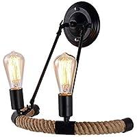 XAJGW Lámparas de Pared de 2 Luces, iluminación Industrial Lámpara de Metal Sombra Lámpara de Pared de tocador nórdica para Interiores (Base de lámpara de Hierro Simple Pintada con Negro Moderno)