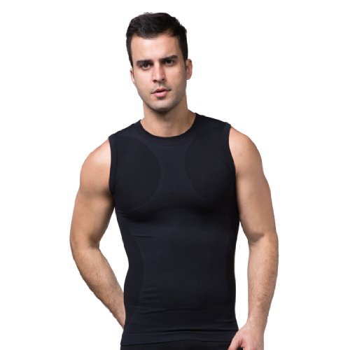 ZEROBODYS Maglietta senza Maniche Uomo compression funzionale maglia Cool-asciutto SS-M05 Nero (S)