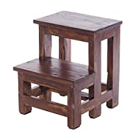 DESIGN DELIGHTS STEPLADDER STEP   46x37x37 cm (HxWxD), recycled wood   two-stage tread stool, Kids step stool   Colour: 03 dark-brown