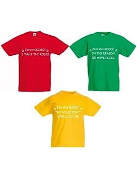 Juego de camisetas para trillizos, colores rojo, verde y amarillo