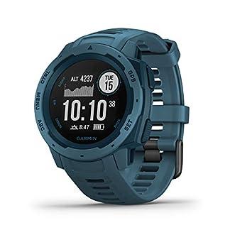 Garmin Instinct – Reloj con GPS para actividades al aire libre (resistencia frente a golpes y agua, carcasa de polímero reforzado)Azul