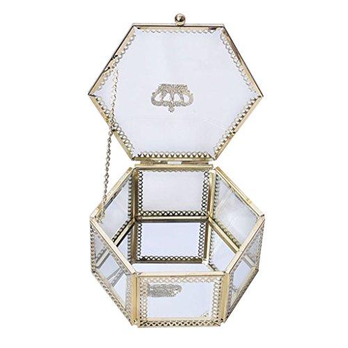 Homyl 1 Stück Glas Display Schmuckschatulle Halskette Ringe Ohrringe Box Geschenk für Hochzeit Braut (Crown Schmuck-display Royal)