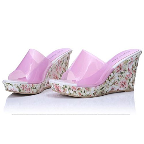 W&LMScarpe Fiori ciabatte infradito Alto tacco alto Pendenza con Spessore inferiore sandali all'aperto Scarpe da spiaggia Pink