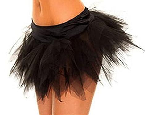 PhilaeEC Women's Lace Tutu Skirt Sexy Lingerie Dress Fantasy Burlesque Corset Skirt S-2XL (Black, Medium)