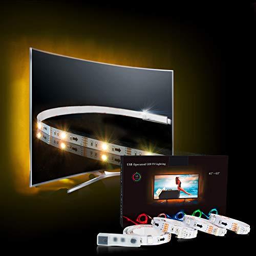 LED Strip,TV LED Hintergrundbeleuchtung RGB 2M/6.56ft LED Streifen Für 40 bis 60 HDTV USB LED TV Beleuchtung mit 24keys Remote, LED Fernseher Beleuchtung-MEHRWEG (Der Musik-chip, Licht-sensoren Mit)