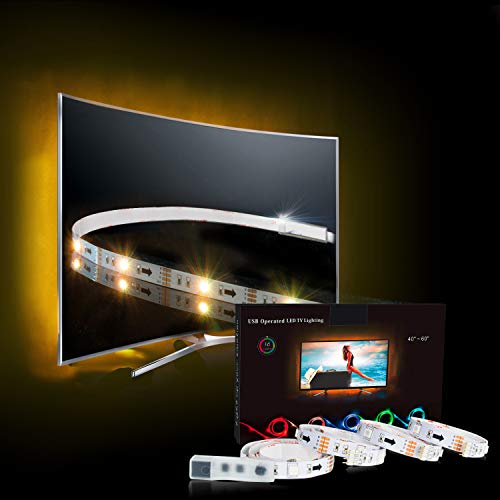 LED Strip,TV LED Hintergrundbeleuchtung RGB 2M/6.56ft LED Streifen Für 40 bis 60 HDTV USB LED TV Beleuchtung mit 24keys Remote, LED Fernseher Beleuchtung-MEHRWEG -