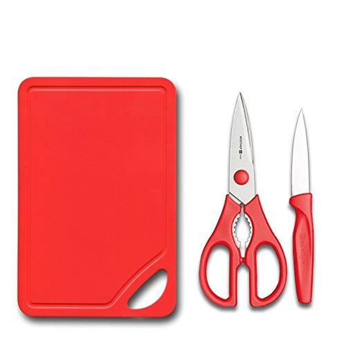 Schere-Messer-Schneidebrett rot (Wusthof Schere Küche)