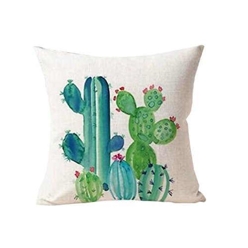 Yellow Green Succulents Cactus Pillow Cover Beautiful Linen Cushion Cover For Sofa Seating Living Room Home Decor Pillow Case Volume Large Table & Sofa Linens Home Textile