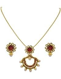 JFL - Traditional Ethnic One Gram Gold Plated Diamond Stone & Pearl Designer Pendant Set For Women & Girls.