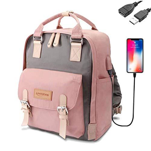 Keenston Laptop Rucksack Damen für 14 Zoll Laptop mit USB Ladeanschluss Schulrucksack Wasserabweisenden Multifunktionsrucksack Nylon Tagesrucksack für Business Schule Reisen Pink