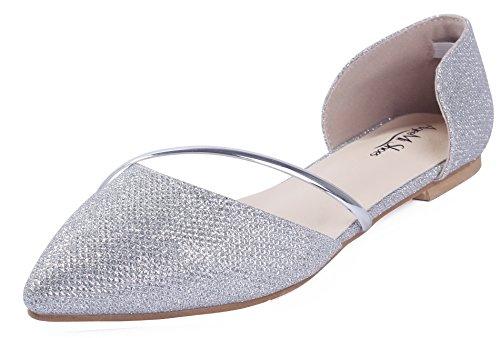 AgeeMi Shoes Womens Sin Cordones Cequí Plano De Salón,EuD50 Plateado 39