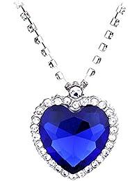 MagiDeal Collar con Colgante en Forma de Corazón Clásico Titánico de Zafiro de Océano de Plata Regalo para Mujeres de Azul Joyería