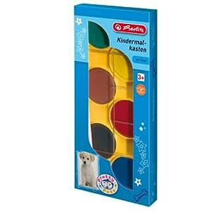 Herlitz 8640252 Kindermalkasten mit Pinsel mit extra-große Farbtabletten