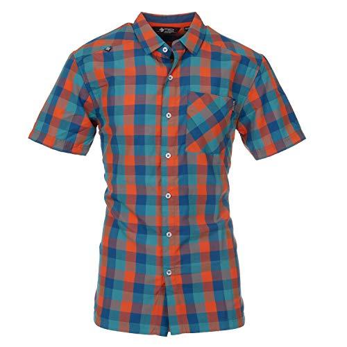 Herrenhemd Kurzarmhemd Langarm Regatta für Männer auch in Übergrößen kariert mit Brusttaschen und Kragen bunt in vielen Farben Helmut, Größe:M, Farbe:Blau-Orange-Karo