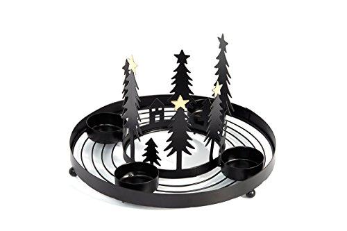 Heitmann Deco runder Teelicht-Kerzenhalter aus Metall - Advents-Teelichthalter - Kerzenständer für 4 Teelichter - schwarz - Kleiner Künstliche Adventskranz