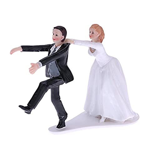Anself Cute and Funny Synthetic Resin Bride & Groom Wedding Cake Topper Romantic Wedding Party Decoration Figurine Craft