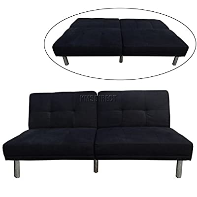FoxHunter Fabric Faux Suede Sofa Bed Recliner 2 Seater Modern Luxury Design Living Room Furniture FSB01 Black produced by KMS - quick delivery from UK.