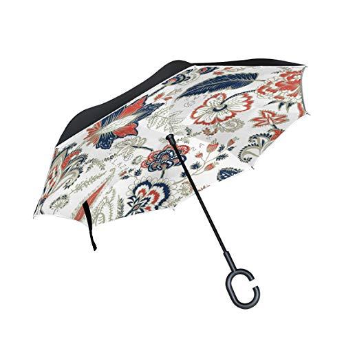 ISAOA Doppelschichtiger umgekehrter Regenschirm, selbststehend und innen außen, Auto-Regenschirm, Retro-Blumen-Euro-Sham, Gold, Winddicht, regenverkehrter Regenschirm mit UV-Schutz -
