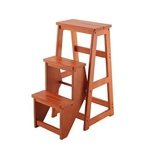 Tragbarer Tritthocker, 3-Stufenleiter aus Holz Rutschfeste Multifunktionsküche Schlafzimmer Wohnzimmer Leicht zu verstauen 36x58x77cm (Color : Brown) -