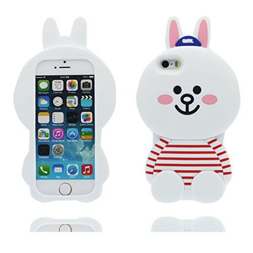 iPhone 5 Coque, Étui Cover Housse pour iPhone 5S 5C 5G, TPU Rubber Skin Soft Shell iPhone SE Case, Résistant à la poussière Scratch (3D Cartoon lapin Stripe) bleu blanc