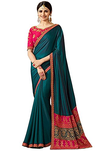 Viviki Fashion Silk Saree With Blouse Piece (sparkal blue_Blue_Free Size)