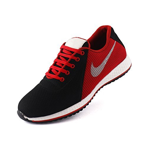 AORFEO Unisex Black Red Men and Women Casual Sport Running Shoes and Leather Look Sneaker Shoe Shoes CX28 (7)