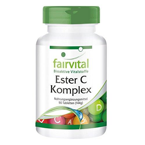 Ester C Komplex - für 3 Monate - VEGAN - gepuffertes Vitamin C mit Bioflavonoiden - 90 Tabletten - magenfreundlich -