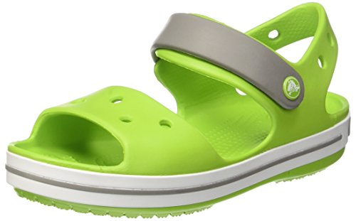 Crocs crocband sandal kids, sandali con cinturino alla caviglia unisex – bambini, verde (volt green/smoke), 20/21 eu